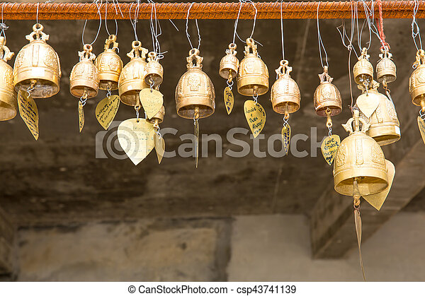 Tradition asian bells in Buddhism temple in Phuket island,Thailand. Famous Big Buddha wish bells - csp43741139