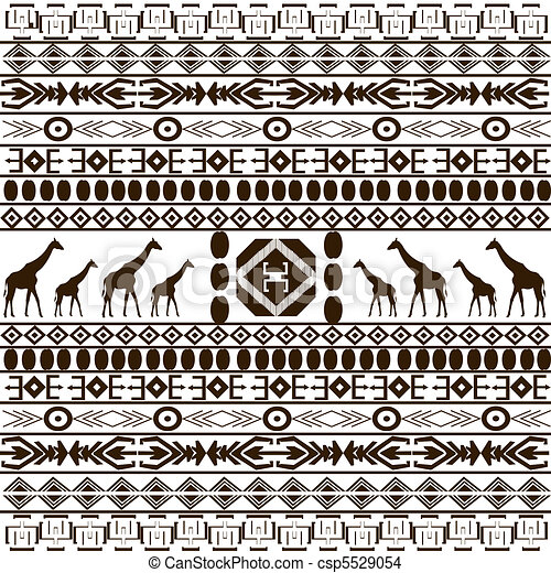 Traditional African pattern with giraffes silhouettes - csp5529054