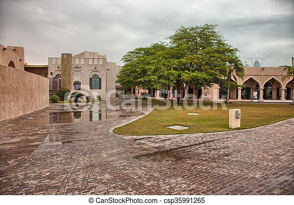 Traditional Arabic architecture in Doha, Qatar - csp35991265