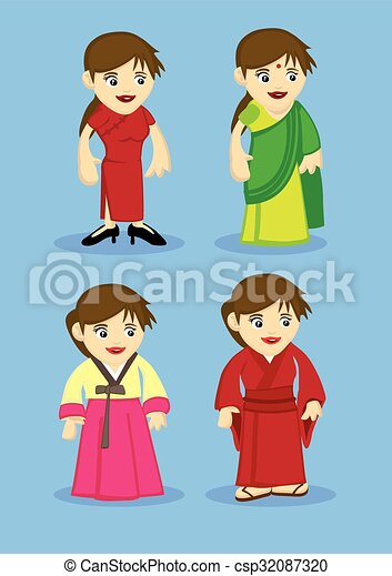 Traditional Asian Costumes For Women Vector Illustration  sc 1 st  Can Stock Photo & Traditional asian costumes for women vector illustration.... vector ...
