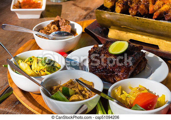 Traditional Balinese Sea Food With Satay And Curry In Bali Indonesia