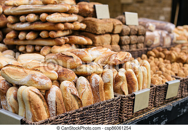 Traditional bread and baguettes in the Jerusalem market, Israel. - csp86061254