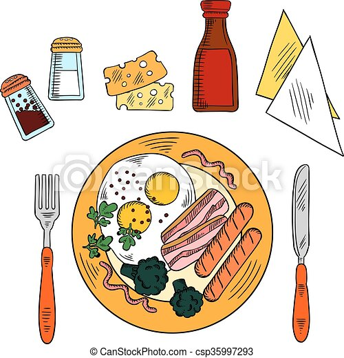 Traditional breakfast with eggs, bacon, sausages - csp35997293