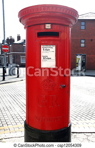 Traditional British Red Post Box on a London St - csp12054309