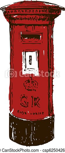 Royal Mail Letter Box.Traditional British Red Royal Mail Pillar Box Sketch Style Ink Pen