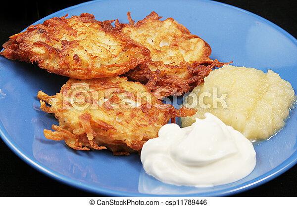 Traditional Chanukah Potato Latkes  - csp11789446