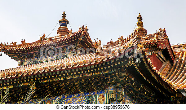 traditional chinese architectural roof with animals picture
