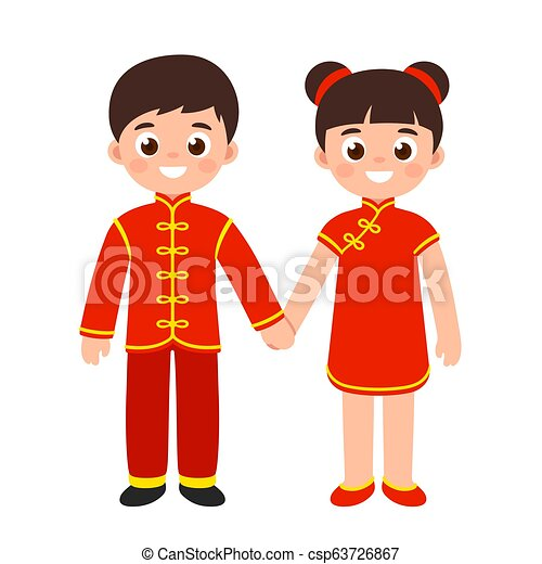75b570bdd85 Traditional chinese costumes. Cute boy and girl in national costume ...
