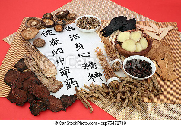 Traditional Chinese Herbs used in Herbal Medicine - csp75472719