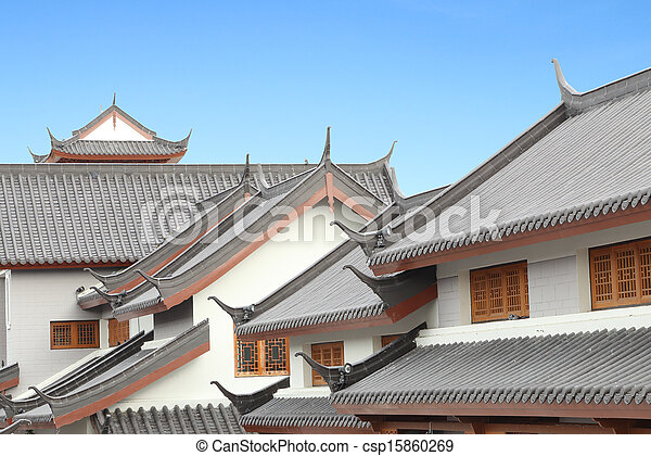 traditional chinese roof with sky traditional chinese roof with