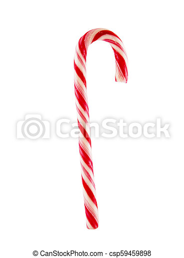 Traditional christmas candy cane isolated on white background - csp59459898
