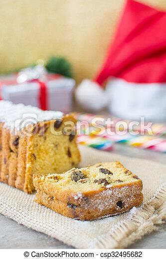 Traditional Christmas fruit cake - csp32495682