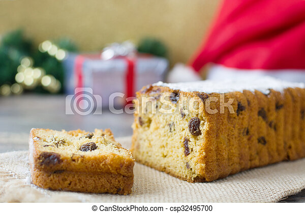 Traditional Christmas fruit cake - csp32495700