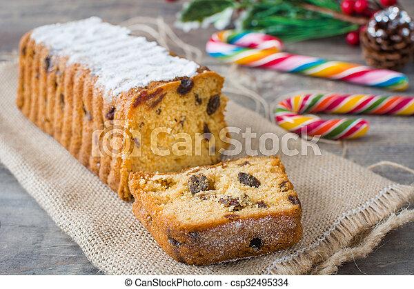 Traditional Christmas fruit cake - csp32495334
