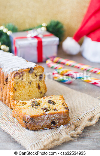 Traditional Christmas fruit cake - csp32534935