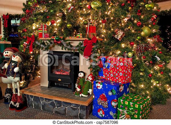 Traditional Christmas Lights.Traditional Christmas Hearth Scene