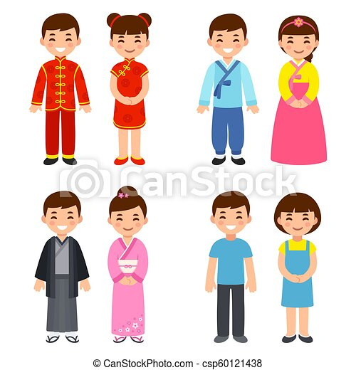 8f379f2cd Traditional costumes of asian countries. Cute cartoon children in ...