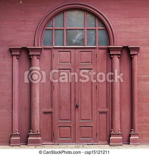 Traditional Crimson Wooden Door Thai - csp15121211 & Traditional crimson wooden door thai stock photography - Search ...