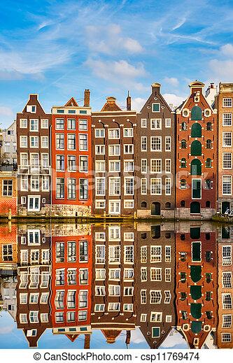 Traditional dutch buildings, Amsterdam - csp11769474