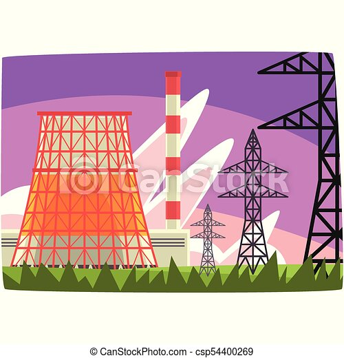 Traditional energy generation power station, electricity generation plant horizontal vector illustration - csp54400269