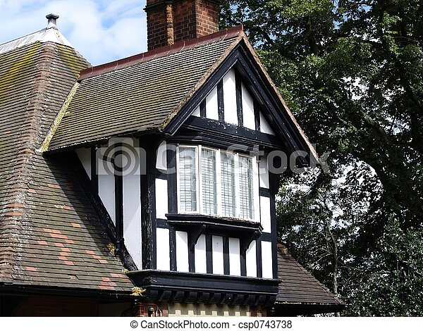 Traditional English House White Building With Black Wooden