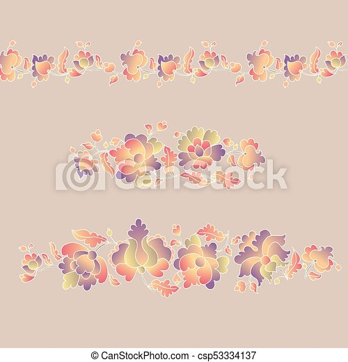 Traditional European Ukrainian Border Ornament Rustic Floral Composition Rural Folk Style Flower Element