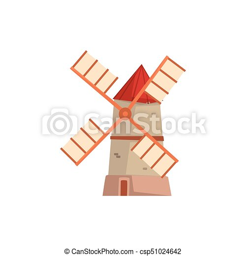 Traditional european windmill, medieval building cartoon ...