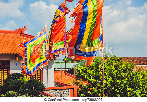 Traditional Festival flags of Vietnam Five Elements Flag - csp73866227