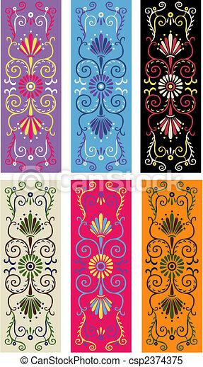 traditional floral border design - csp2374375