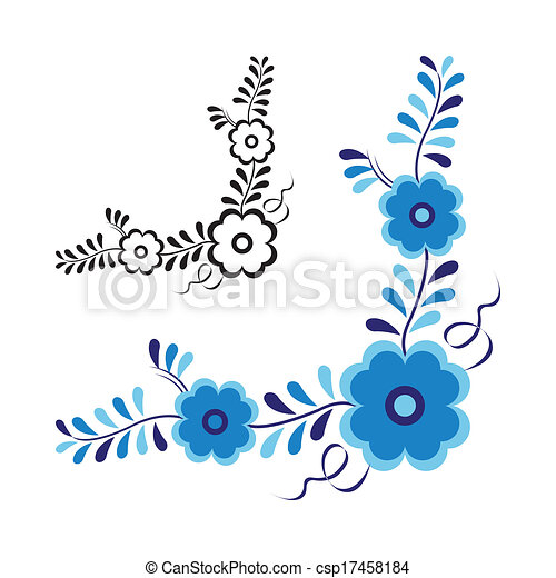 Traditional folk ornament and pattern isolated on white background - csp17458184