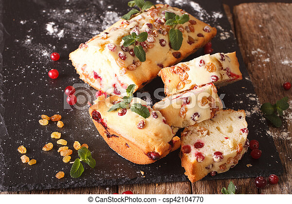 Traditional fruit cake with cranberries and raisins close-up. horizontal - csp42104770