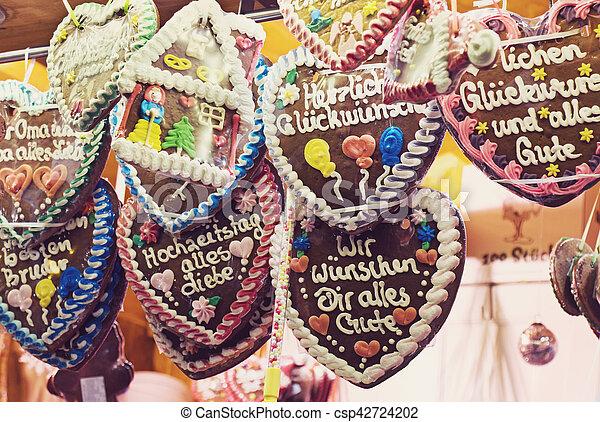 Traditional Gingerbread Hearts At German Christmas Market