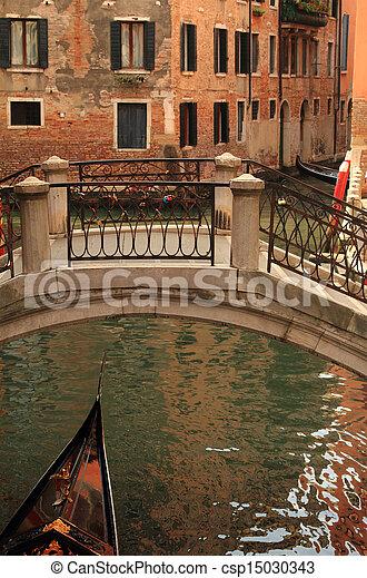Traditional gondola in Venice, Italy - csp15030343