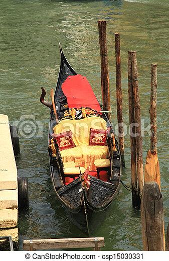 Traditional gondola in Venice, Italy - csp15030331