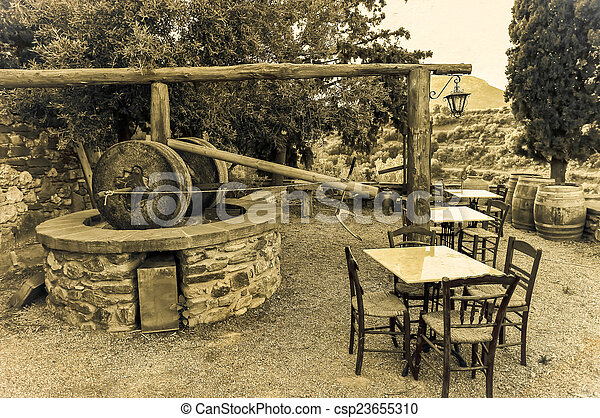traditional Greek olive oil press in Monemvasia village, Laconia, Peloponnes - csp23655310