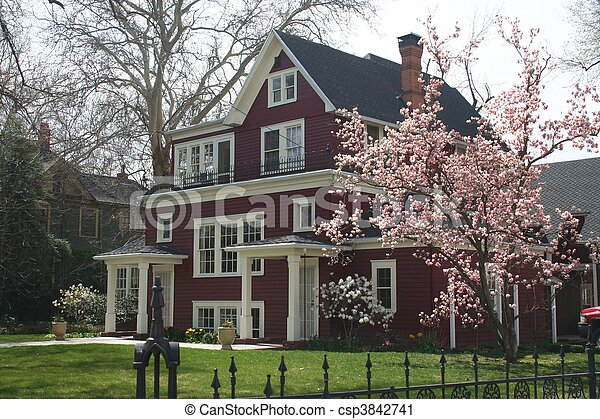 Traditional Home in Spring - csp3842741