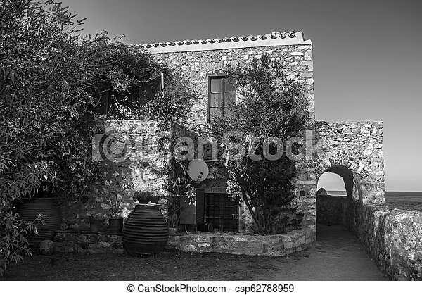 traditional house at the castle of Monemvasia Peloponnese Greece - black and white photo - csp62788959