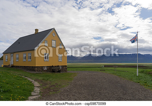 Traditional icelandic wooden House in Iceland - csp59870099