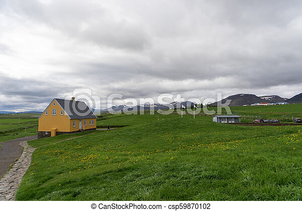 Traditional icelandic wooden House in Iceland - csp59870102
