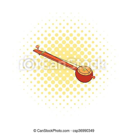 Traditional Indian ektara icon, comics style - csp36990349