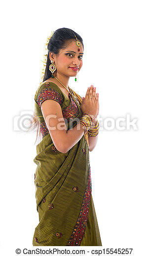 23d3fe9476 traditional indian female giving greetings during diwali - csp15545257