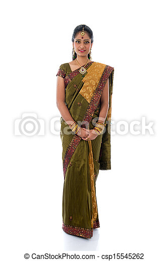 b8dc43d593 Traditional indian woman in saree with white background full body.