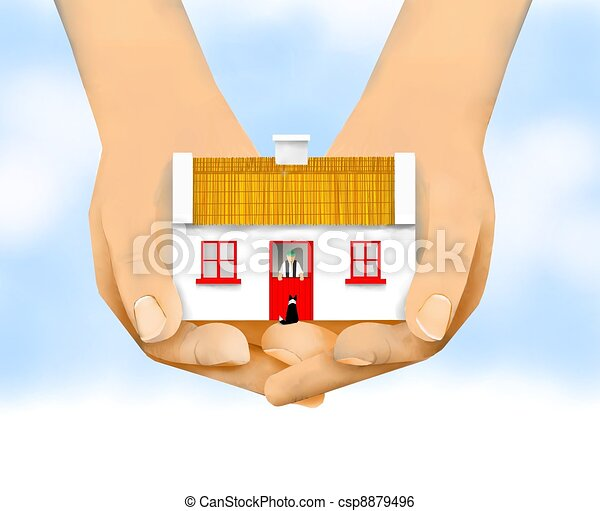 Traditional Irish Cottage Cupped Hands Holding A Stock