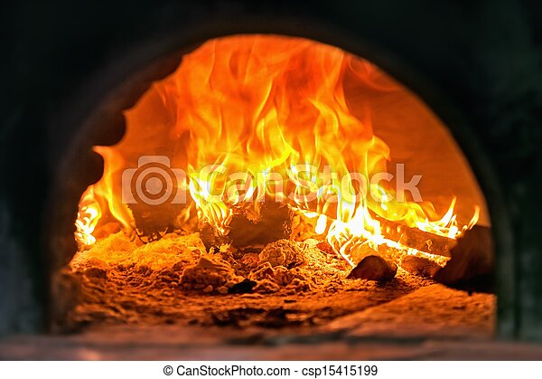 Traditional Italian pizza wood oven, fire detail  - csp15415199