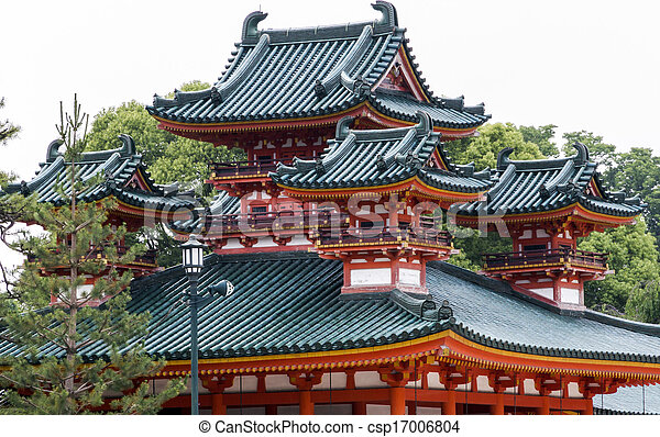 Traditional Japanese Architecture At Heian Jingu Shrine In Kyoto, Japan .  Heian Jingu Shrine Is A Stock Photo