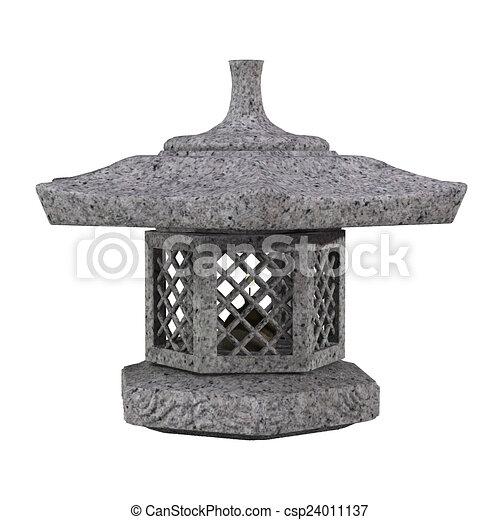 Traditional japanese garden stone lantern 3d illustration traditional japanese garden stone lantern csp24011137 workwithnaturefo