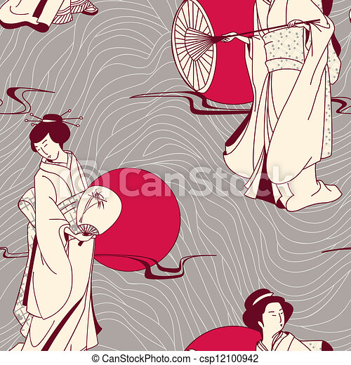 traditional Japanese Geisha pattern - csp12100942
