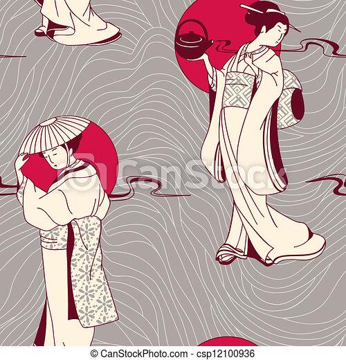 traditional Japanese Geisha pattern - csp12100936