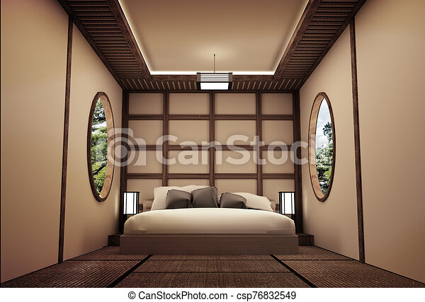 Traditional Japanese Style Bedroom Interior Design 3d Rendering Canstock