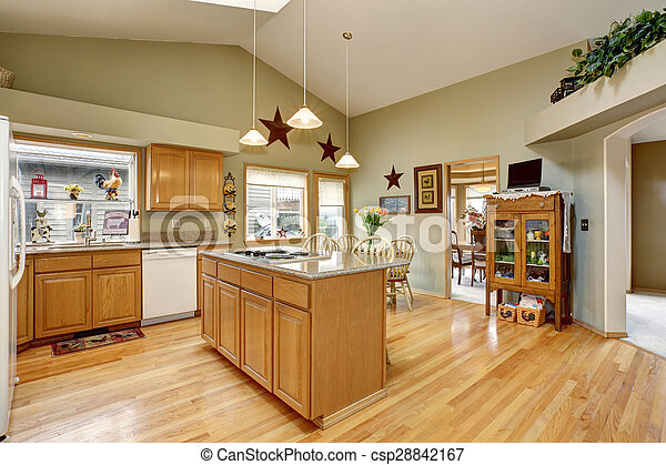 Traditional kitchen with dinning area. - csp28842167